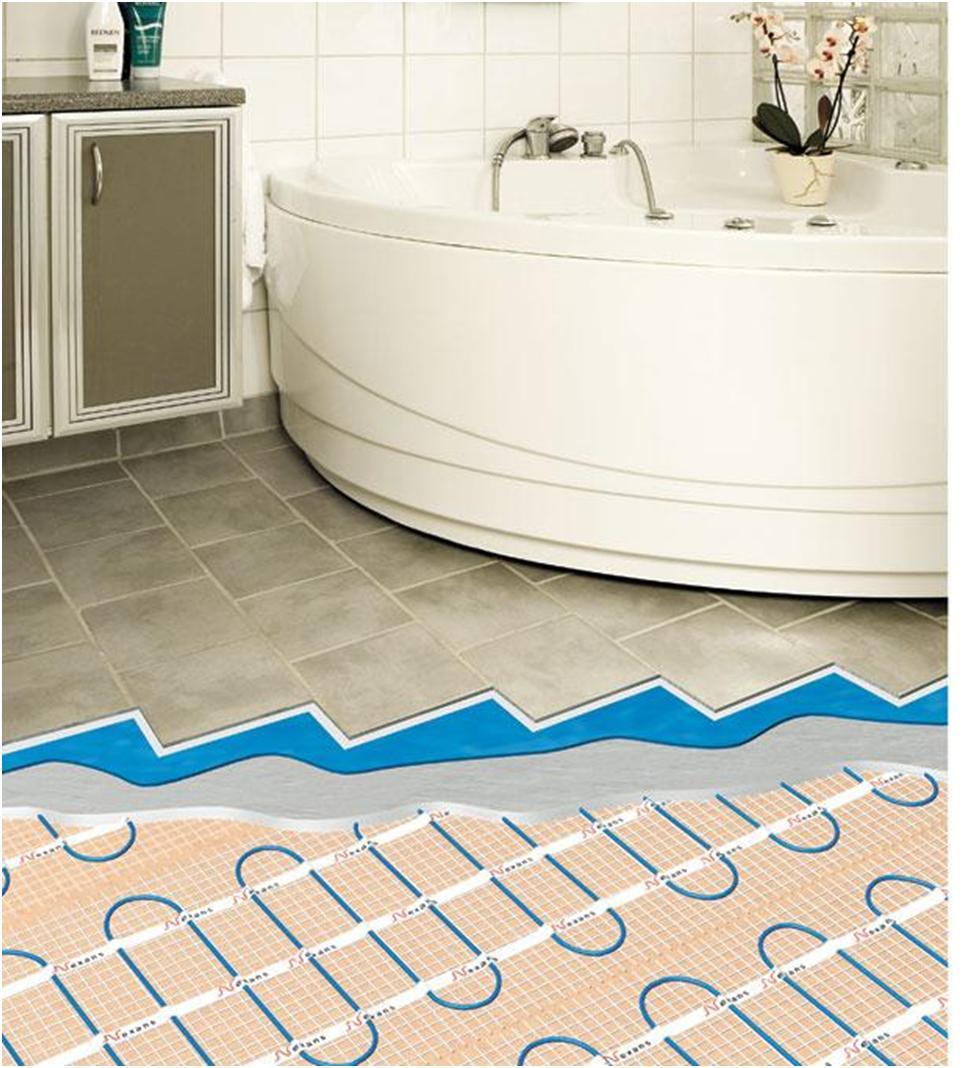 Система «тёплый пол» отлично реализуется в ванной комнате