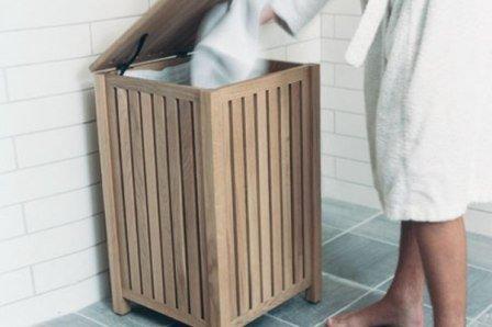 Корзины для белья в ванную деревянные