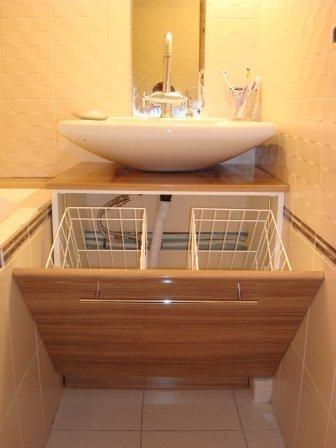 Корзины для белья в ванную по типу размещения