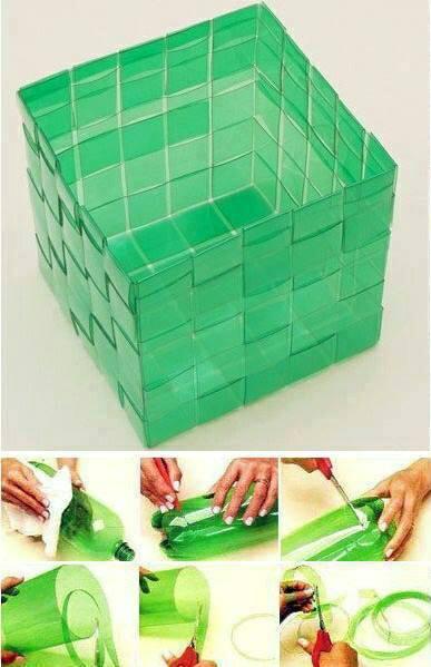 Корзина из пластиковых бутылок