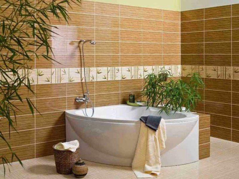 Полуматовая плитка в ванной