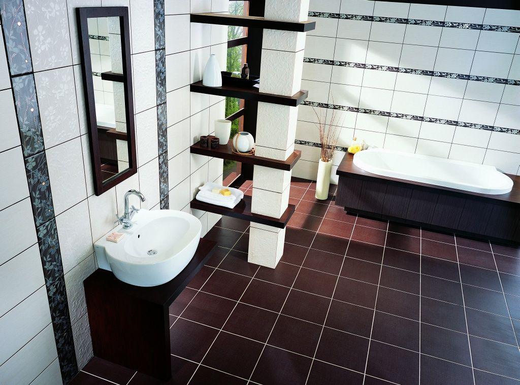 Пол ванной комнаты, выложенный кафелем