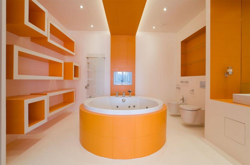 Оранжевая ванная: символ лета в вашем доме