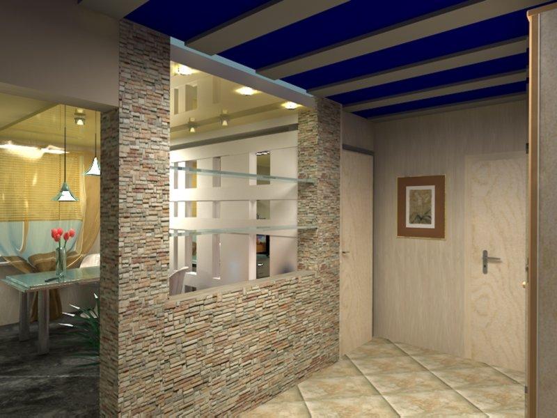 Интерьер кухни совмещенной с коридором