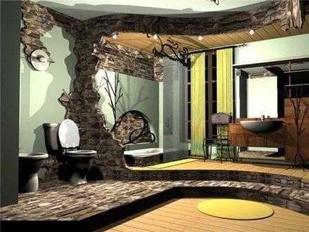 Вариант оформления ванной комнаты в большом помещении