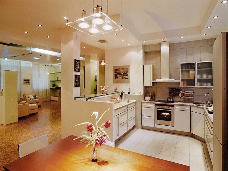 Оригинальное освещение на кухне и его виды