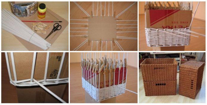 Изготовление коробки из газетных трубочек