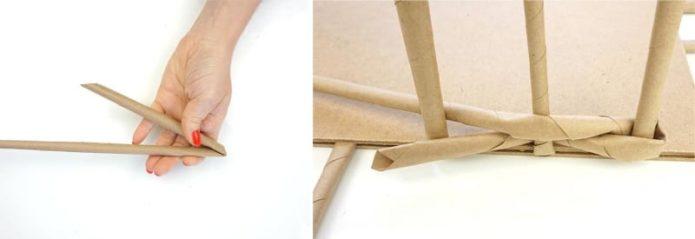 Плетение подноса из бумажных трубочек