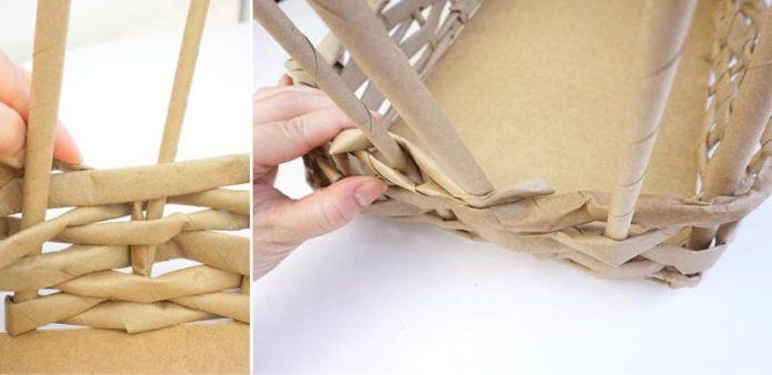 Плетение стенок подноса из бумажной лозы