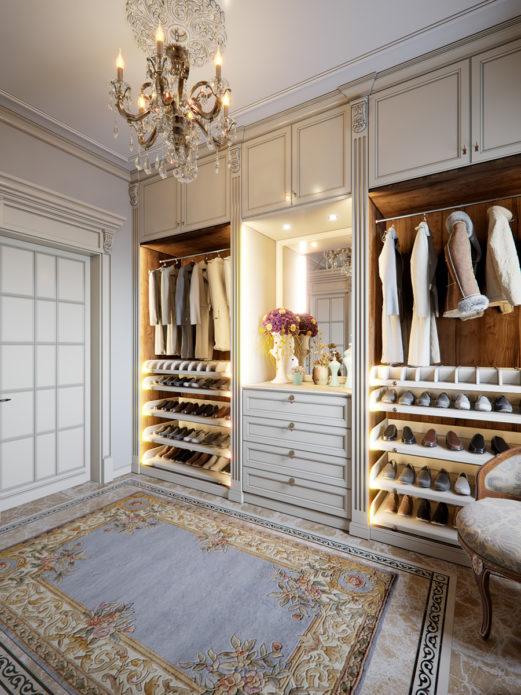 Фото шикарной гардеробной комнаты маленького размера