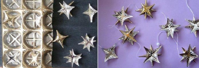 Звёзды из пластикового вкладыша