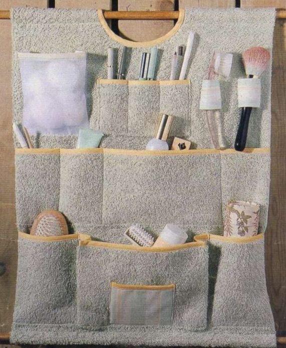Органайзер для косметических принадлежностей из полотенца